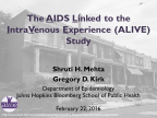 The AIDS Linked to the IntraVenous Experience (ALIVE) Study - Image
