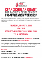 CFAR Scholar Grant for Faculty Development Pre-application Workshop - Image