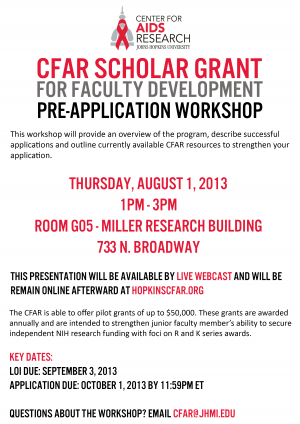 CFAR Scholar Grant for Faculty Development Pre-application Workshop
